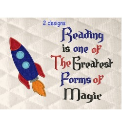 Space rocket applique with Reading is one