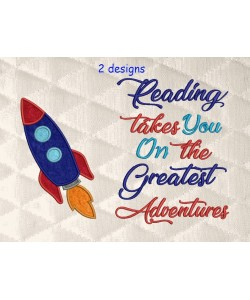Space rocket applique with reading takes you