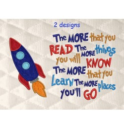 Space rocket applique with the more that you read