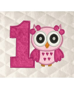owl girl birthday number 1 applique