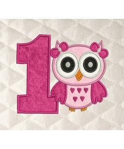 owl girl birthday number 1 applique