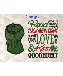 Hulk Fist applique with read me 2 designs 3 sizes