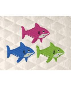shark three embroidery