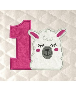 llama face birthday number 1 applique