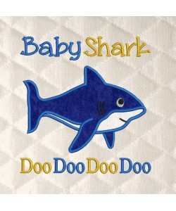 baby shark doo applique