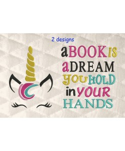unicorn jeune embroidery with a book is a dream 2 designs 3 sizes