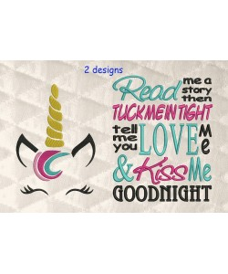 unicorn jeune embroidery with read me 2 designs 3 sizes