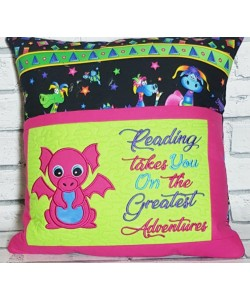 Baby dragon applique with reading takes you 2 designs 3 sizes