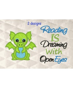 Baby Dragon with reading is dreaming