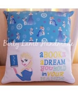 Elsa Frozen book wth a book is a dream reading pillow
