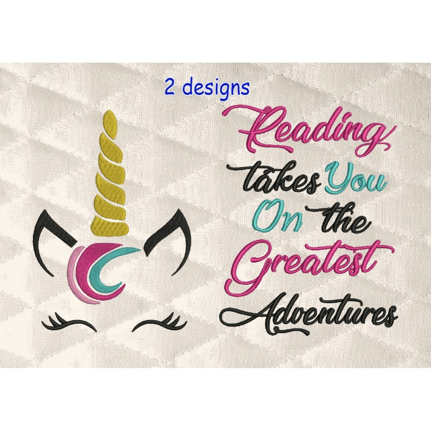 unicorn jeune embroidery with reading takes you 2 designs 3 sizes