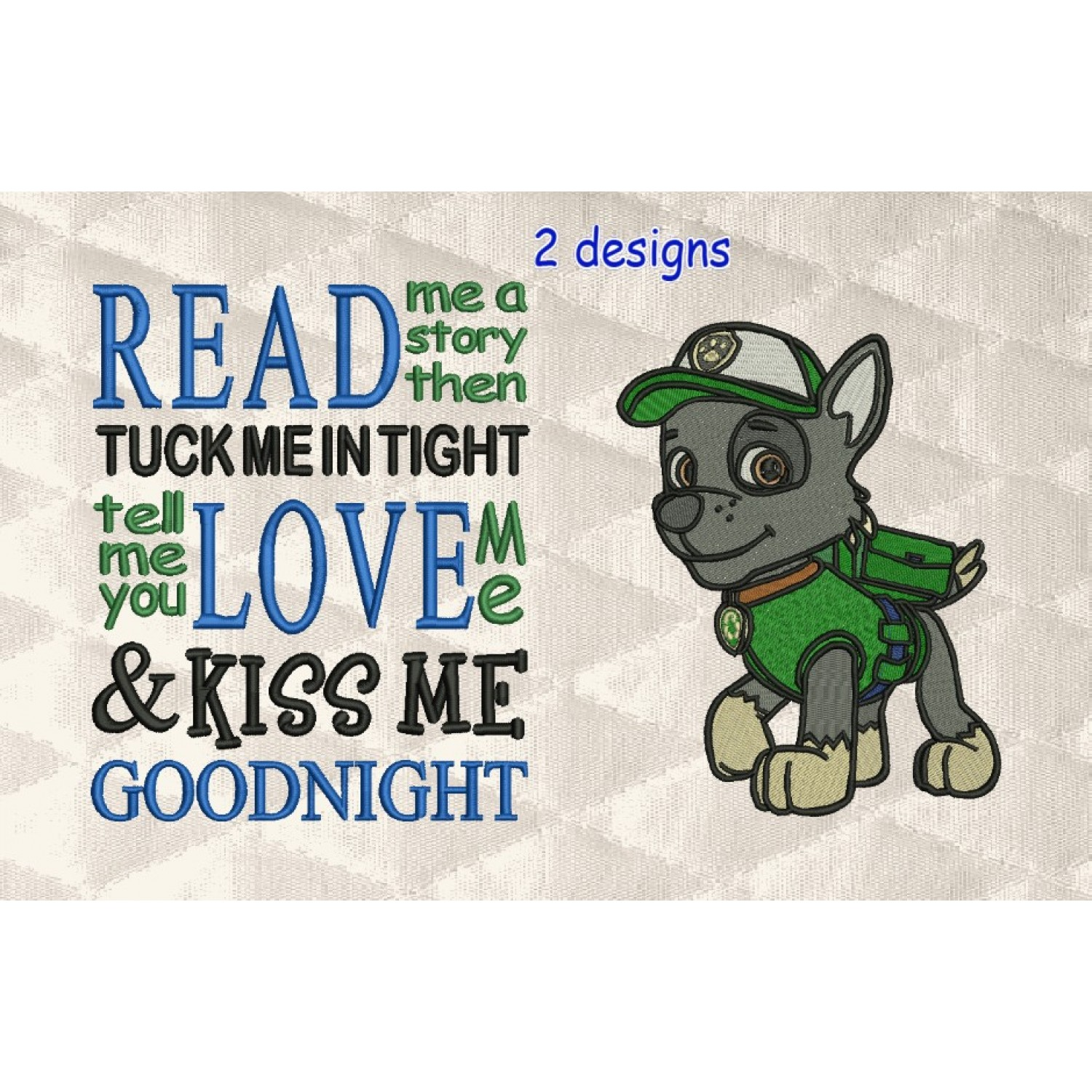 rocky paw patrol embroidery with read me a story 2 designs 3 sizes