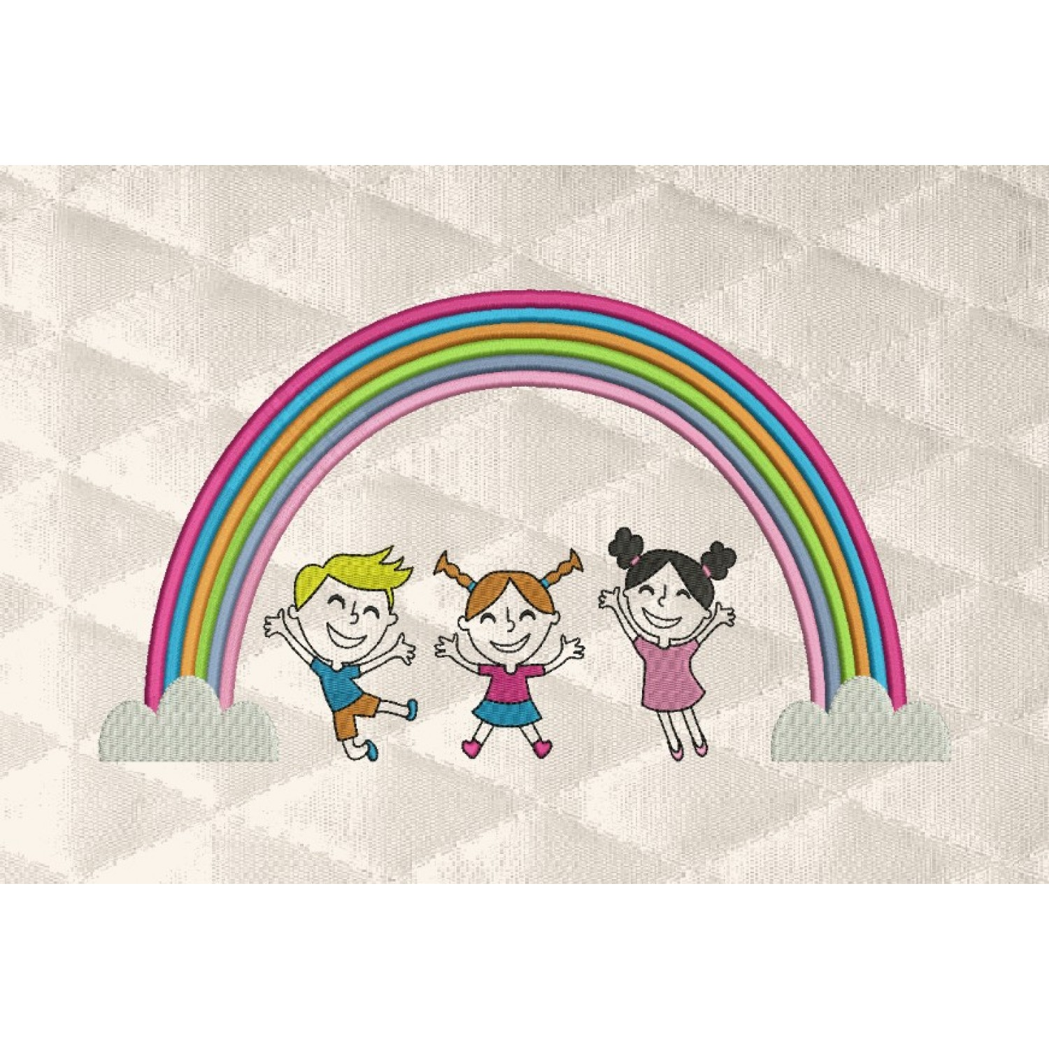rainbow with children embroidery