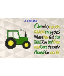 Tractor applique with One who never reads