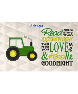 Tractor applique with read me