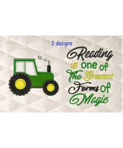 Tractor applique with Reading is one