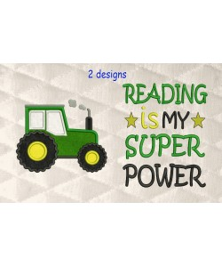 Tractor applique with Reading is My Superpower