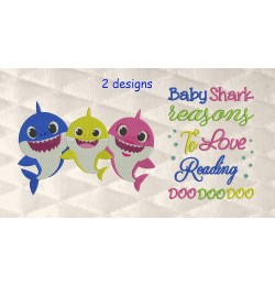 Baby shark embroidery with baby shark reasons