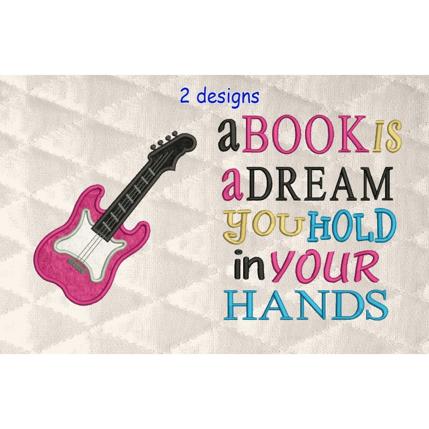 guitar applique with a book is a dream