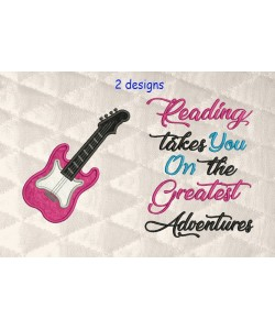 guitar applique with reading takes you