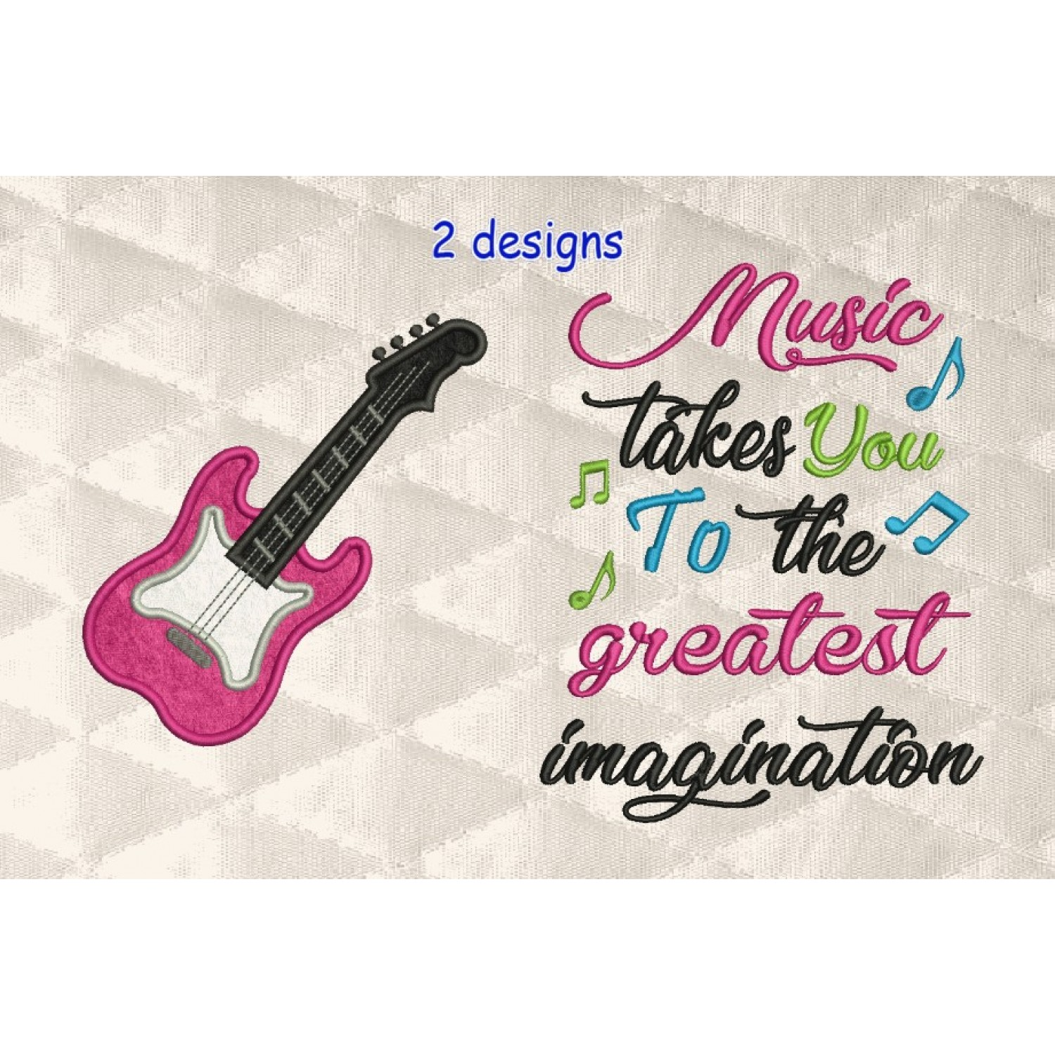guitar applique with Music takes you