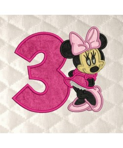 minnie mouse with number 3