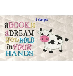 Cow applique with a book is a dream