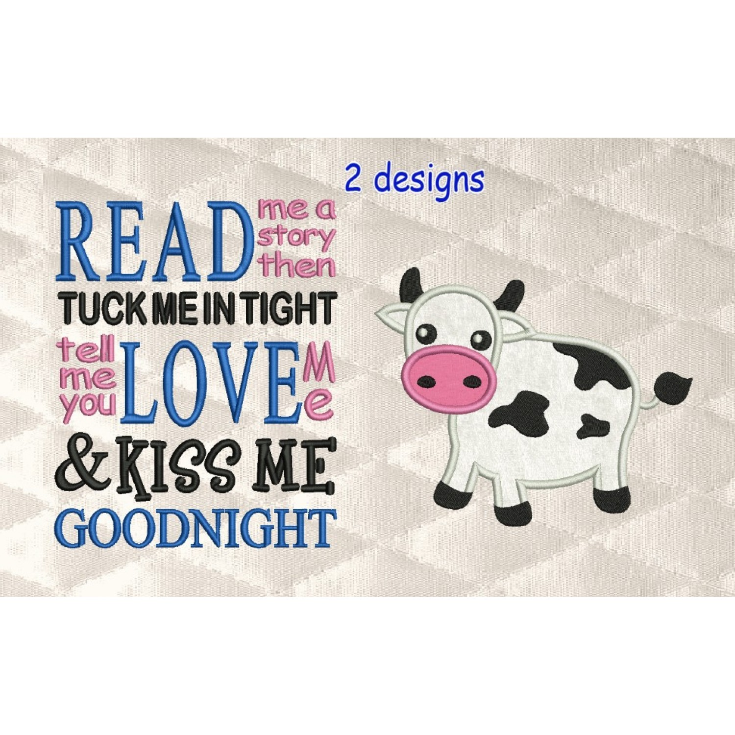 Cow applique with read me a story