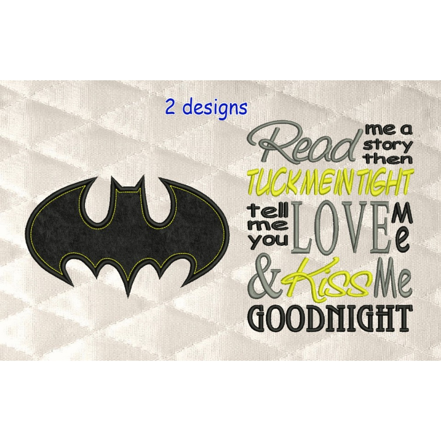 batman logo single applique with read me