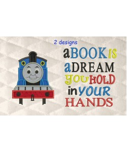 thomas the train applique with a book is a dream 2 designs 3 sizes