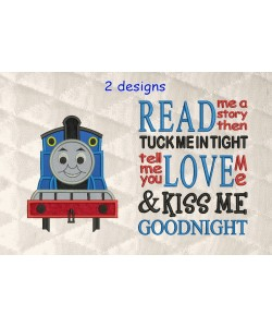 thomas the train applique with read me a story 2 designs 3 sizes