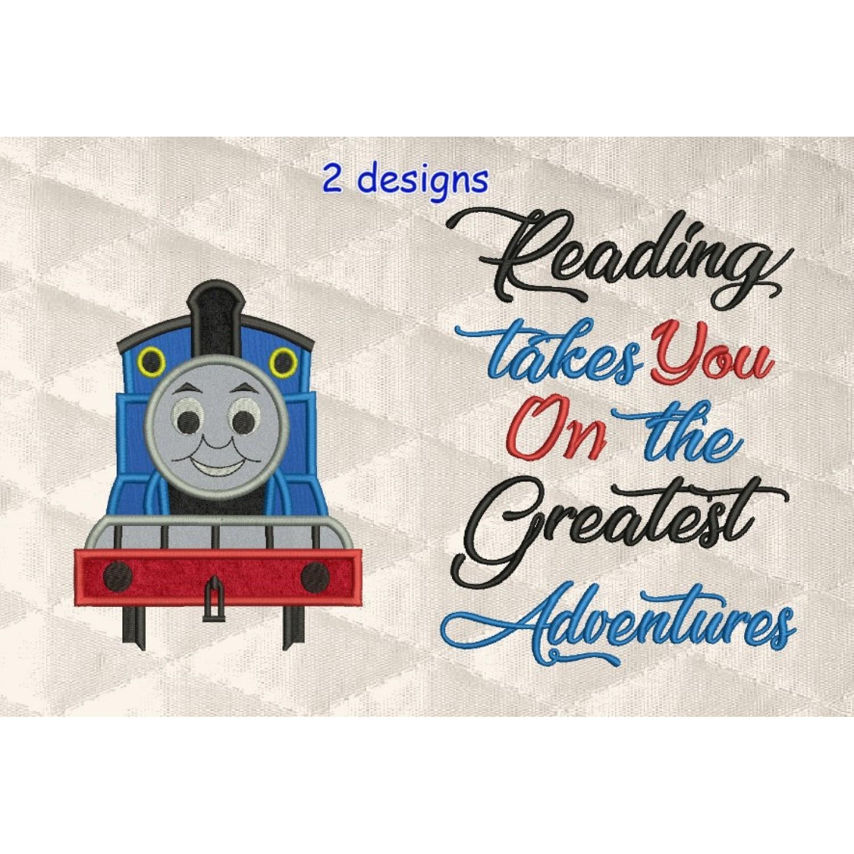 thomas the train applique with reading takes you 2 designs 3 sizes
