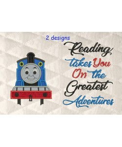 thomas the train applique with reading takes you 2 designs 3 sizes