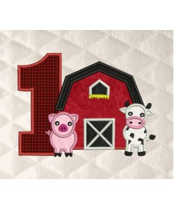 barn birthday number 1 applique