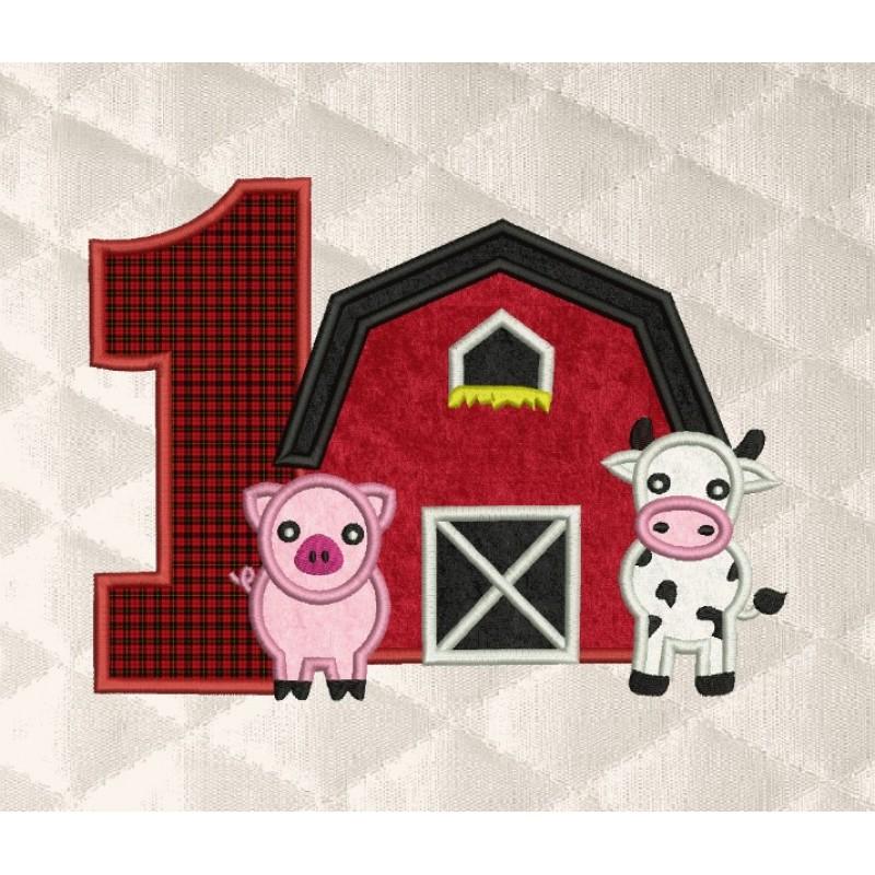 barn birthday number 1 applique