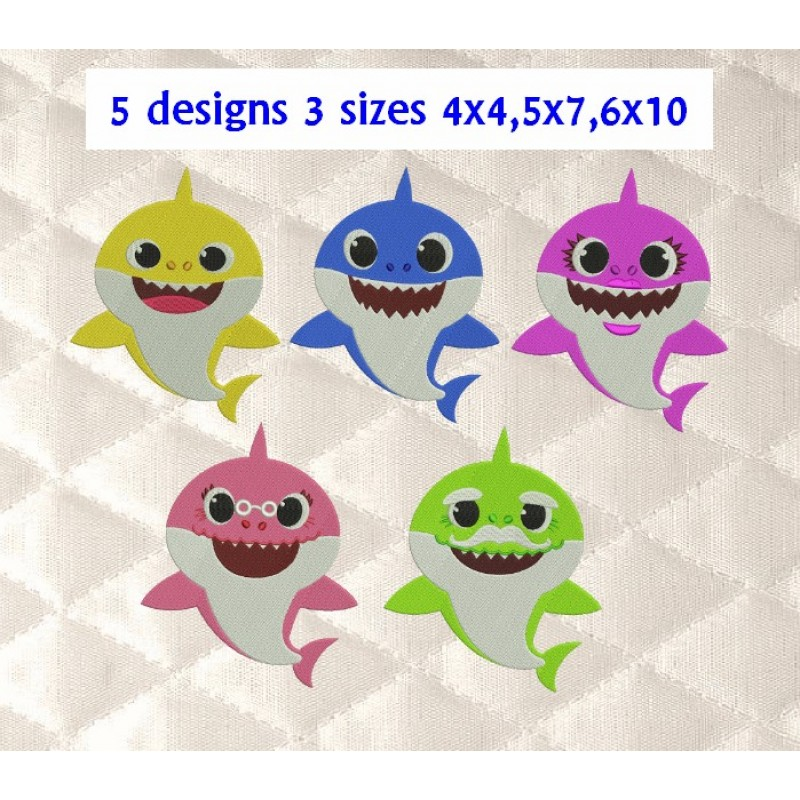 baby shark family 5 designs