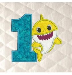 baby shark birthday number 1 applique
