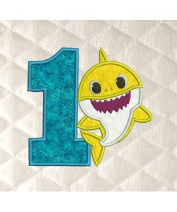 baby shark birthday number 1 applique