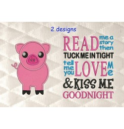 Pig applique with read me a story