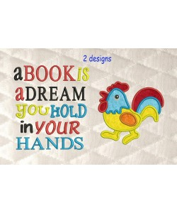 Cock applique with a book is a dream
