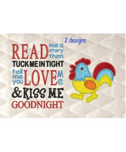 Cock applique with read me a story