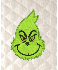 grinch face applique embroidery design
