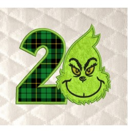 Grinch face birthday number 2 applique