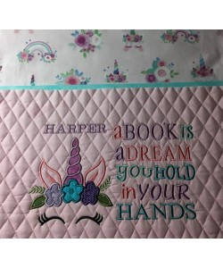 Unicorn Face applique with a book is a dream 2 designs 3 sizes