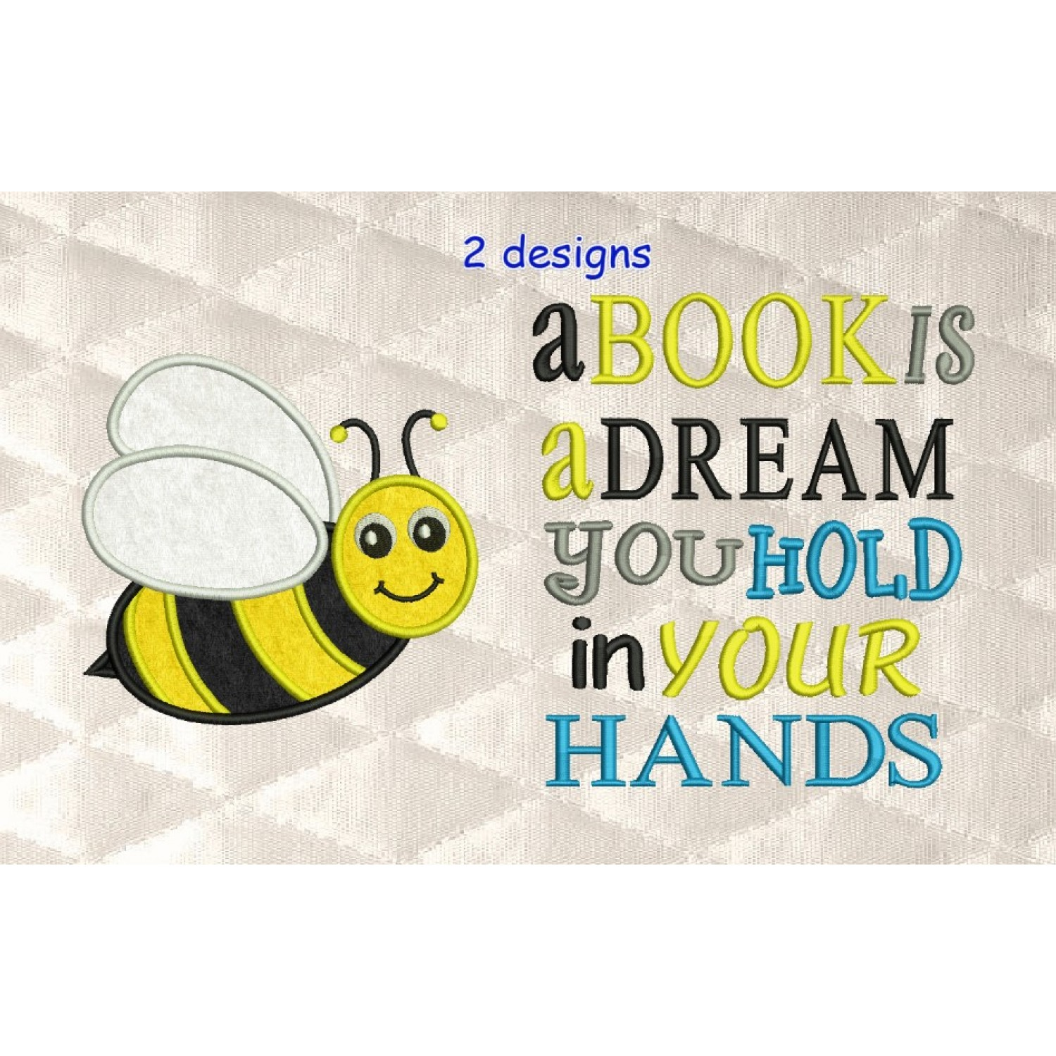 bee applique with a book is a dream 2 designs 3 sizes