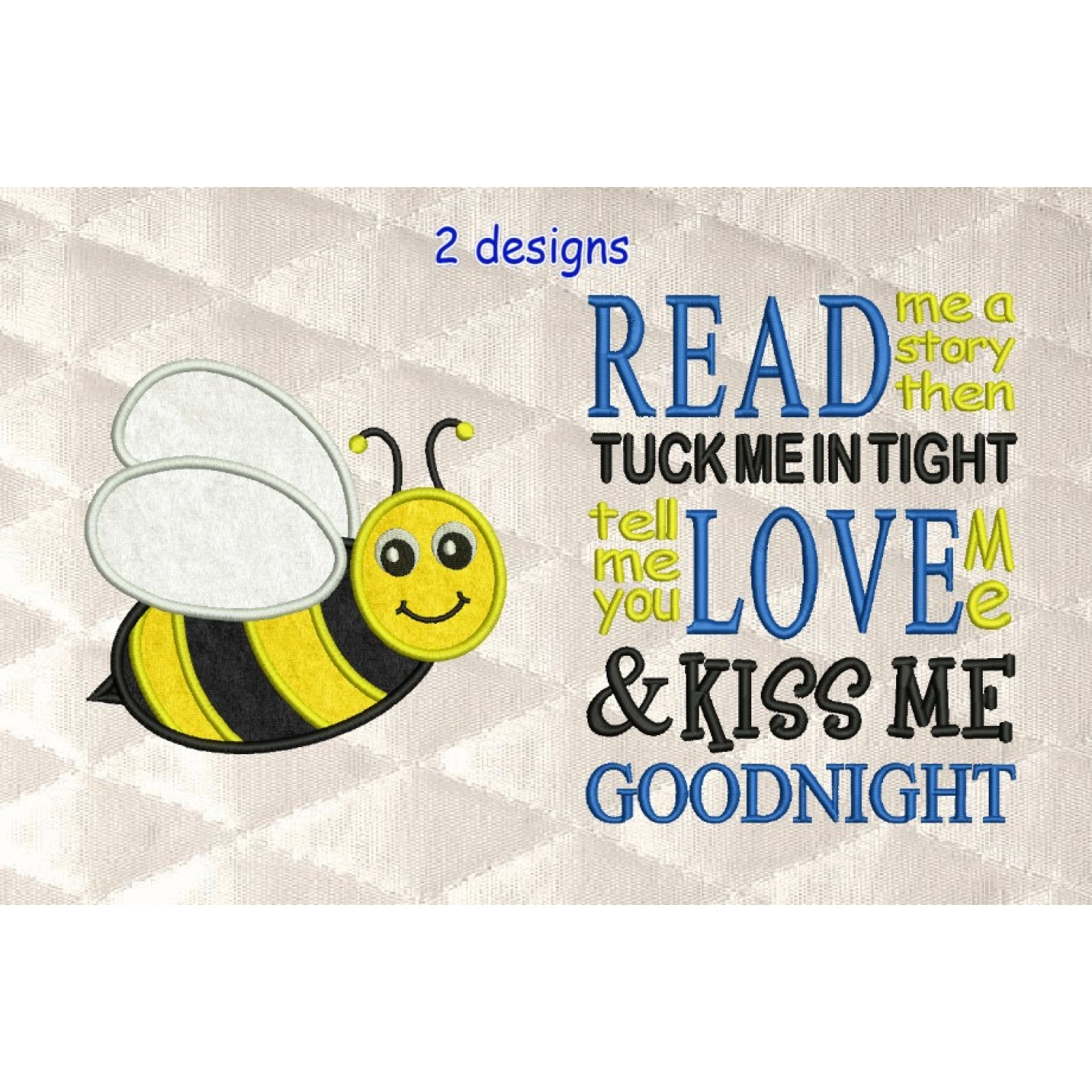 bee applique with read me a story 2 designs 3 sizes