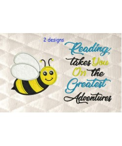 bee applique with reading takes you 2 designs 3 sizes