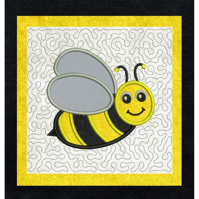bee stippling applique in the hoop