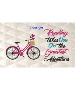 Bicycle embroidery with reading takes you