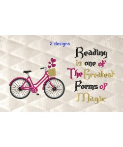 Bicycle embroidery with reading is one